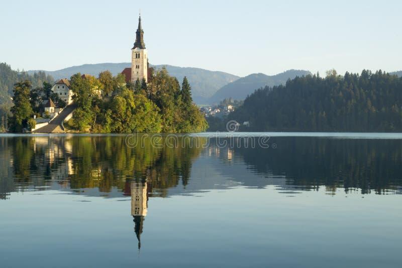 Het meer tapte met St Marys Kerk van de Veronderstelling op het kleine eiland af; Afgetapt, Slovenië, royalty-vrije stock afbeeldingen