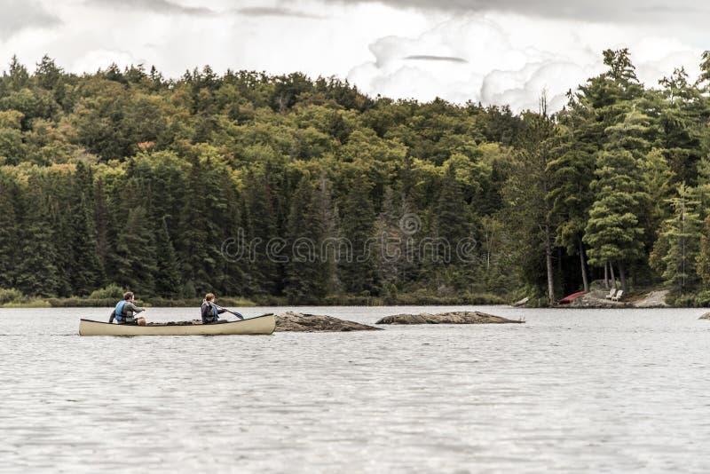 Het Meer van Canada Ontario van twee rivierenpaar op een Kanokano's op het wateralgonquin Nationale Park stock foto's