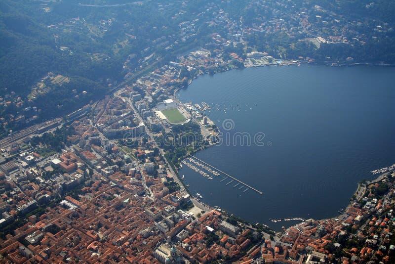 Het meer van Como - stad Como stock foto