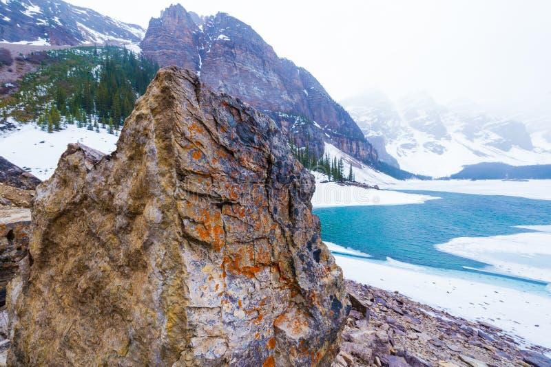 Het Meer van de morene, Banff, Alberta stock afbeeldingen