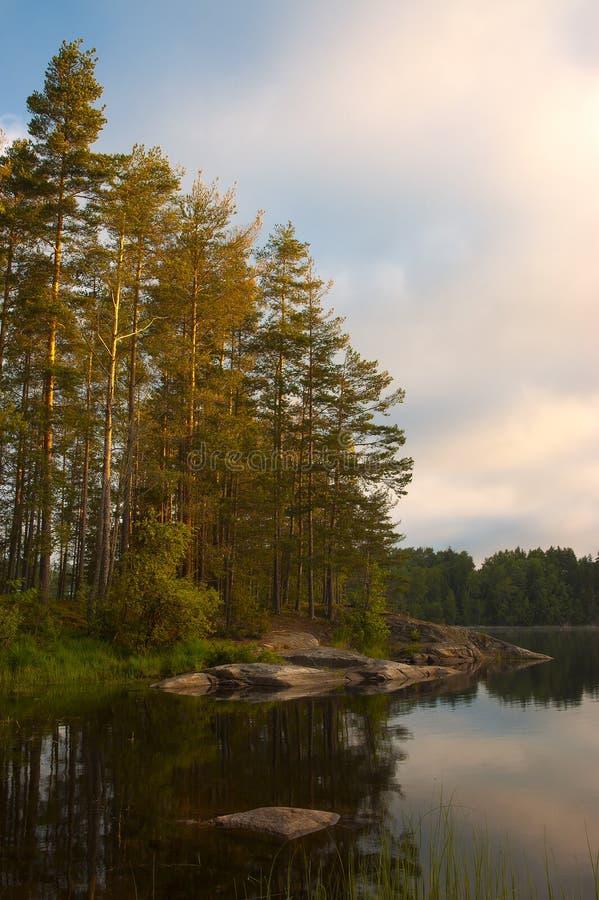 Het meer van de ochtend. royalty-vrije stock afbeeldingen