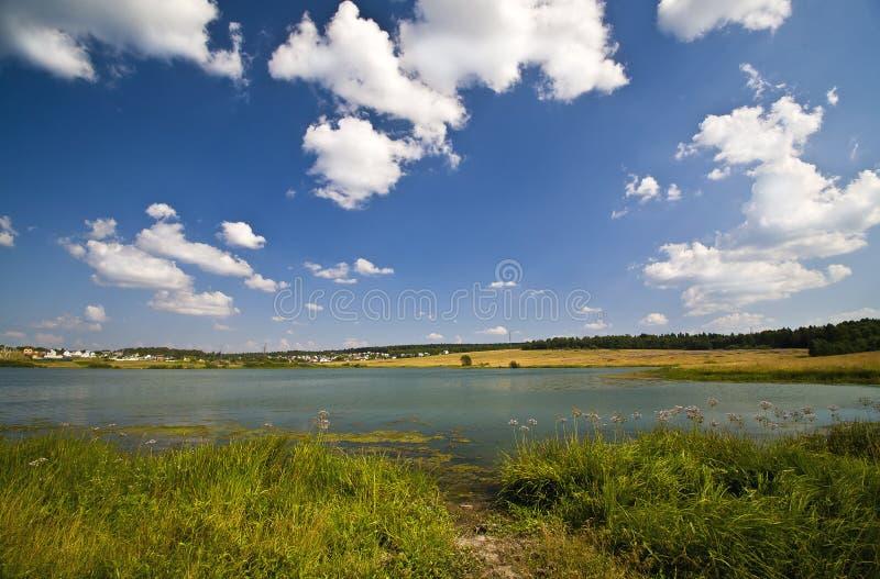 Het meer van de zomer dichtbij landdorp stock afbeelding