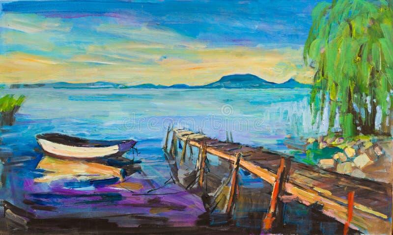 Het meer van de zomerbalaton royalty-vrije stock foto's