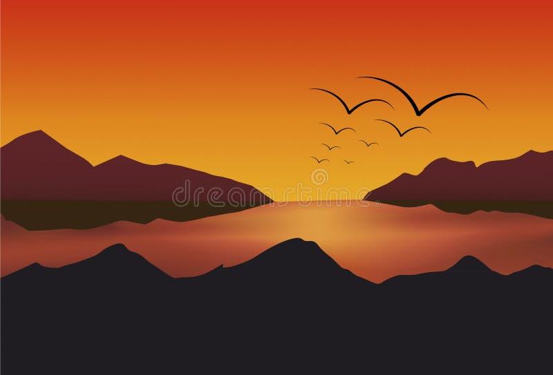Het Meer van de zonsondergang stock afbeelding