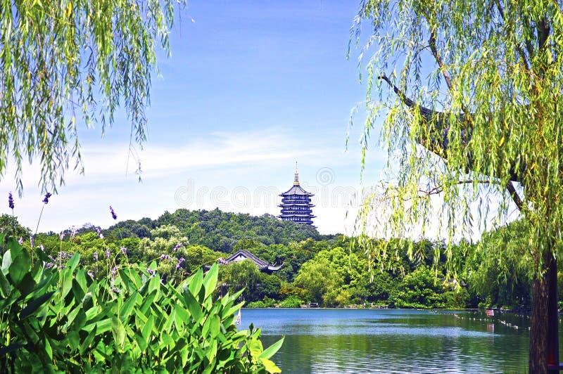 Het Meer van het Hangzhouwesten met Bezinning van Leifeng-Pagode in Sunny Day royalty-vrije stock foto