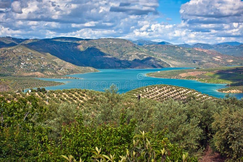 Het Meer van Iznajar, de Provincie van Cordoba royalty-vrije stock fotografie