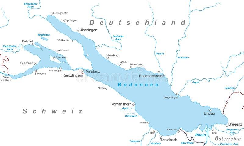 Het Meer van Konstanz - Kaart van het Meer van Konstanz royalty-vrije illustratie