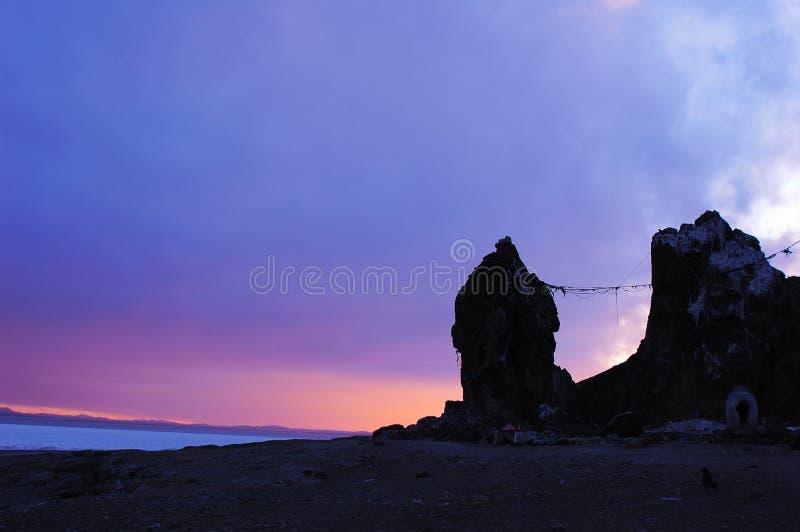 Het Meer van Namtso in Tibet stock foto's