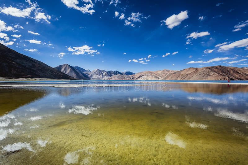 Het meer van Pangong stock foto's