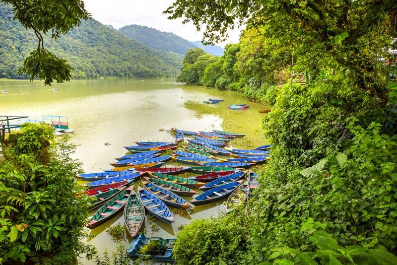 Het Meer van Phewa, Pokra, Nepal stock afbeeldingen