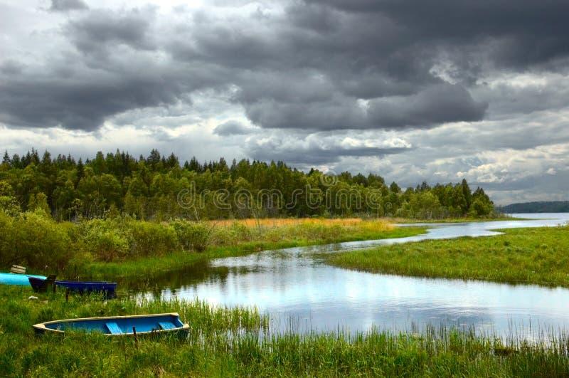 Het meer van Seliger in de herfst stock afbeeldingen