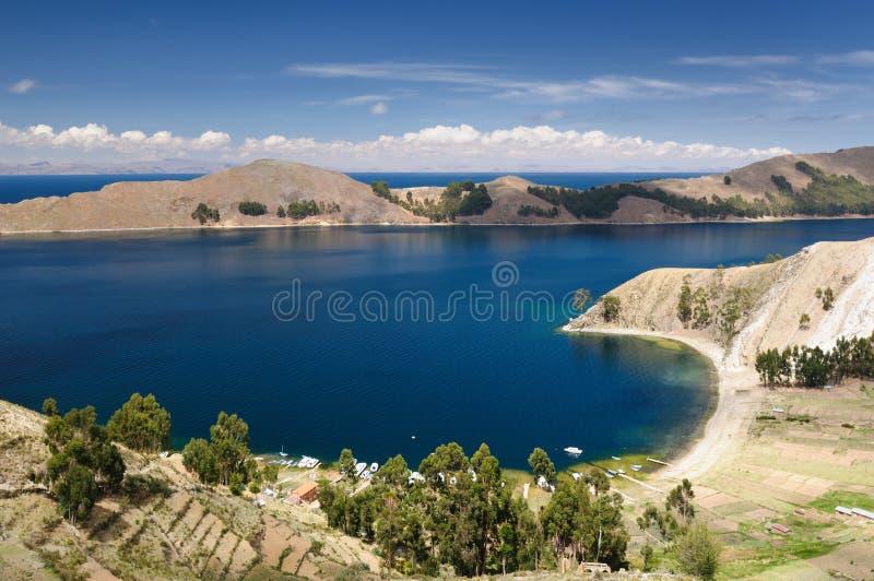 Het meer van Titicaca, Bolivië, Isla del Sol landschap royalty-vrije stock foto's