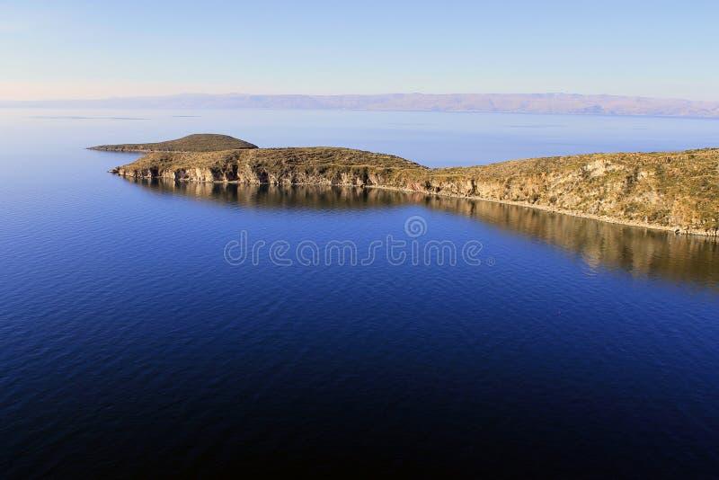Het Meer van Titicaca, Bolivië, Isla del Sol landschap stock afbeelding