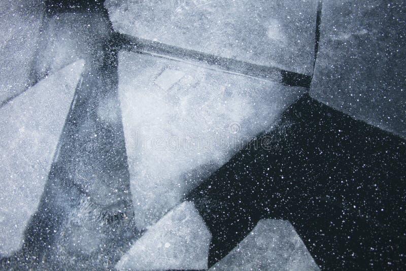 Het meerijs van Baikal Hoogste mening De wintertextuur stock afbeelding