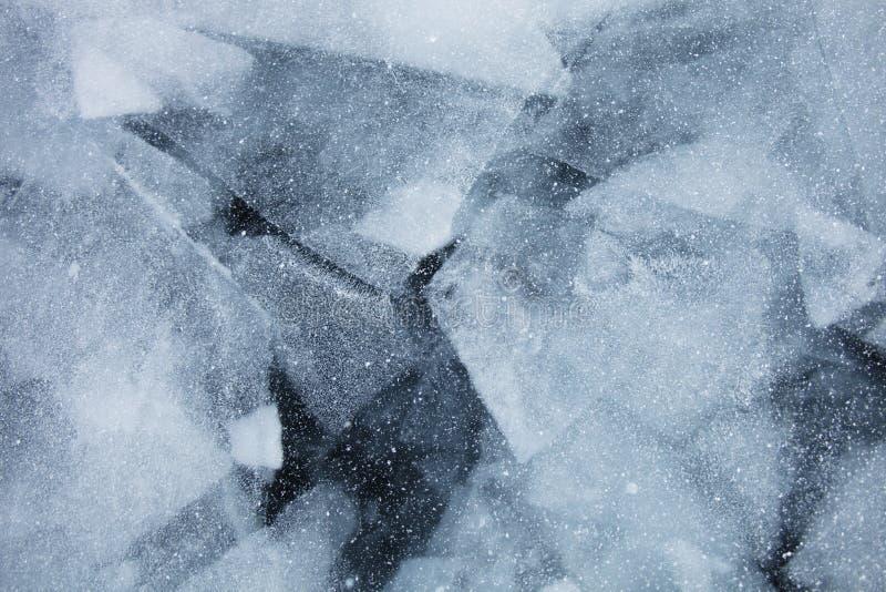 Het meerijs van Baikal Hoogste mening De wintertextuur stock foto