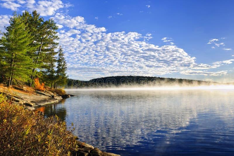 Het meerkust van de herfst met mist stock afbeelding