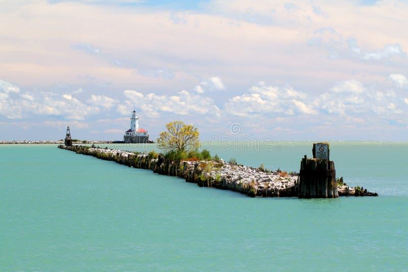 Het meerMichigan van Chicago vuurtoren royalty-vrije stock afbeeldingen