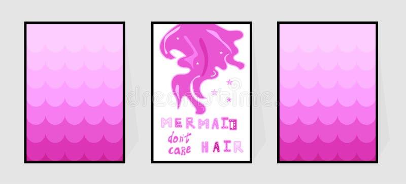 Het meerminhaar trekt de zorg van ` aan t De vissenhuid en citaat van de affiche whith gradi?nt roze over de zomer Vector voor de stock illustratie