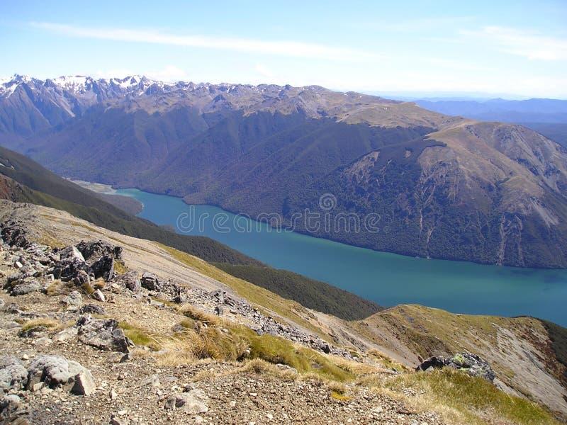 Het meerpanorama van de berg stock fotografie