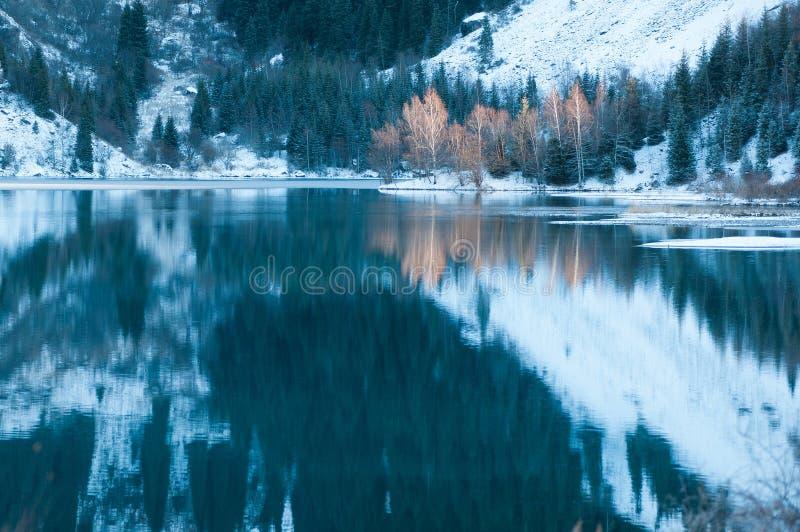 Het meerscène van de winter met mooie bezinning stock fotografie