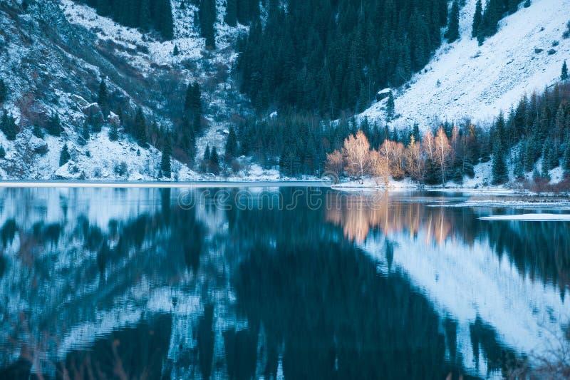 Het meerscène van de winter met mooie bezinning royalty-vrije stock foto