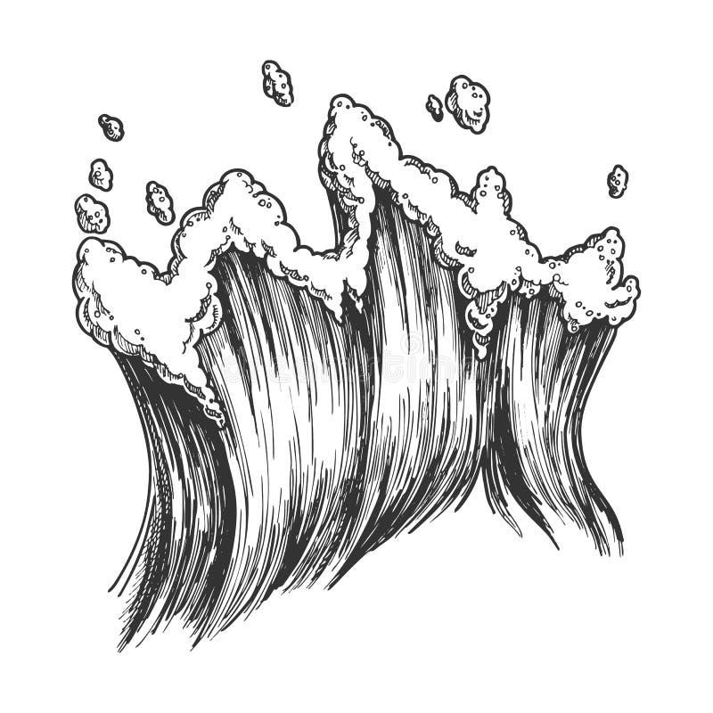 Het meeslepen van Tropische Overzees Marine Wave With Drop Vector royalty-vrije illustratie