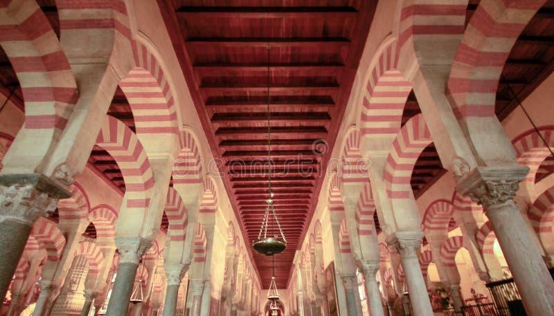 Het meest forrest van pijlers in de grote Moskee in Cordoba, Spanje royalty-vrije stock foto's