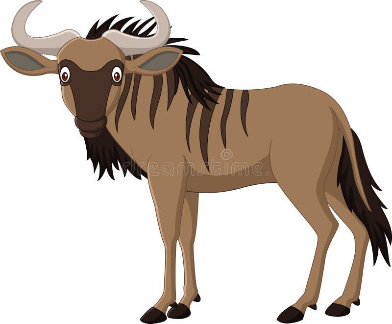 Het meest wildebeest beeldverhaal geïsoleerd op witte achtergrond royalty-vrije illustratie