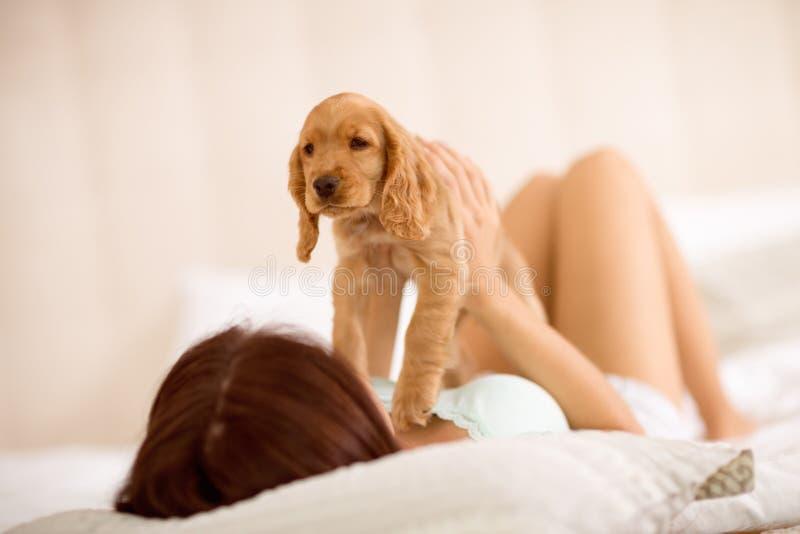 Het meisje aanbidt zijn Cocker-spaniël van het puppyras royalty-vrije stock foto
