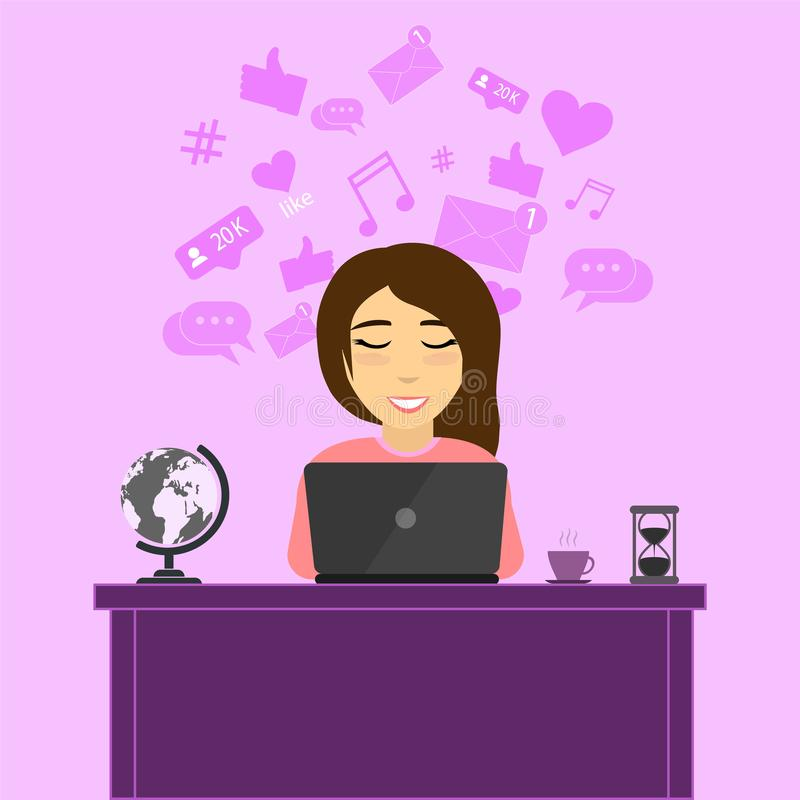 Het meisje achter laptop vector illustratie