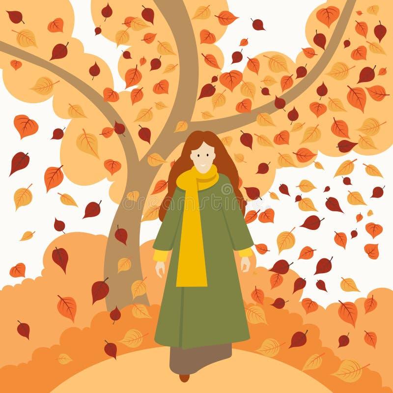 Het meisje in autumngirl in de herfst kleedt kleren vector illustratie