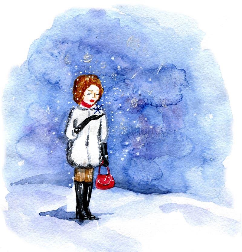 Het meisje bekijkt dalende sneeuw stock illustratie