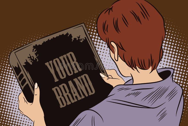 Het meisje bekijkt de boekdekking In het boek, kunt u uw merk schrijven royalty-vrije illustratie