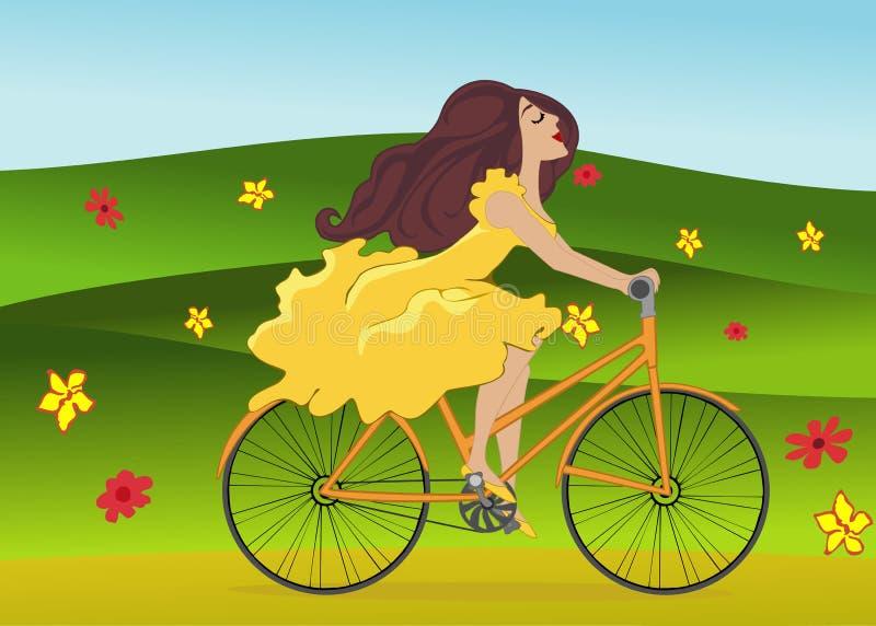 Het meisje berijdt fiets op bloeiend de lentegebied vector illustratie
