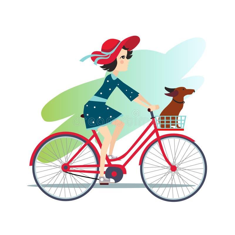 Het meisje berijdt fiets op de lentegebied vector illustratie