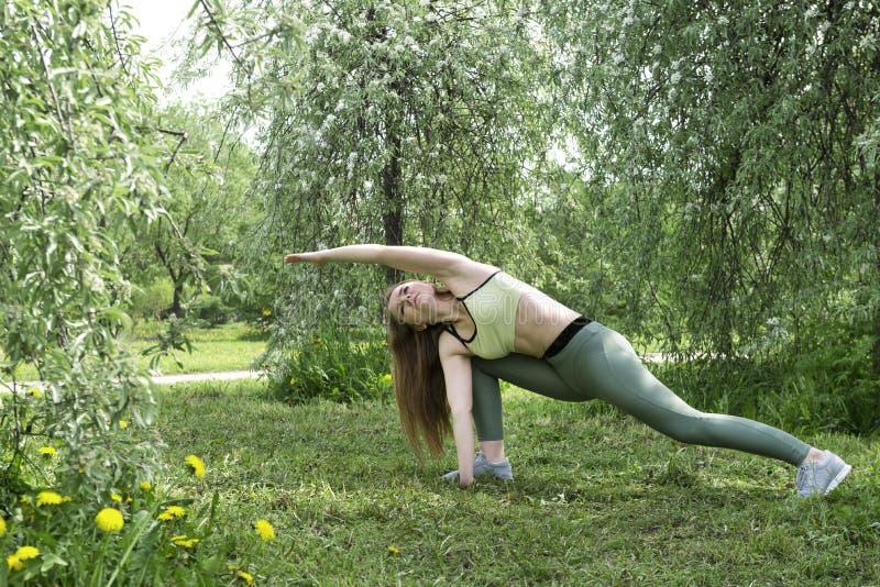Het meisje is bezig geweest met fitness op de aard, yoga, vrouw, sporten stock foto