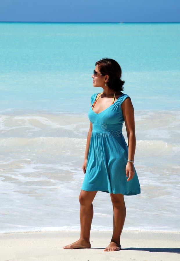 Het meisje in Blauw royalty-vrije stock fotografie