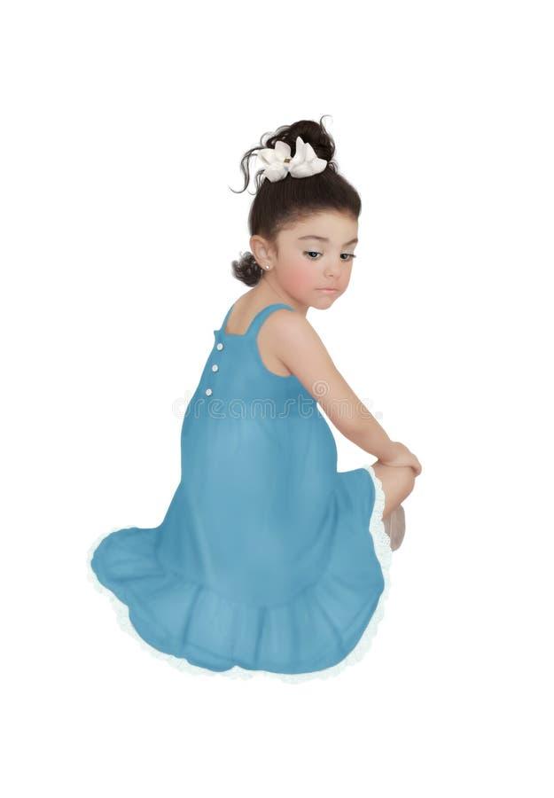 Het meisje in blauwe sundress royalty-vrije stock foto's