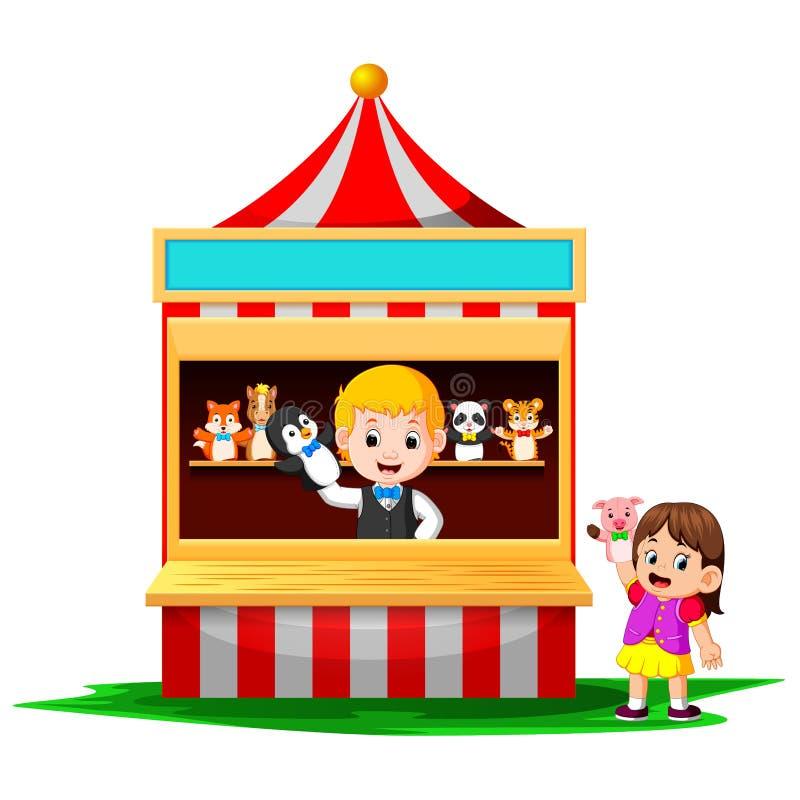 Het meisje in Carnaval en het dragen van handpoppen is zeer leuk royalty-vrije illustratie
