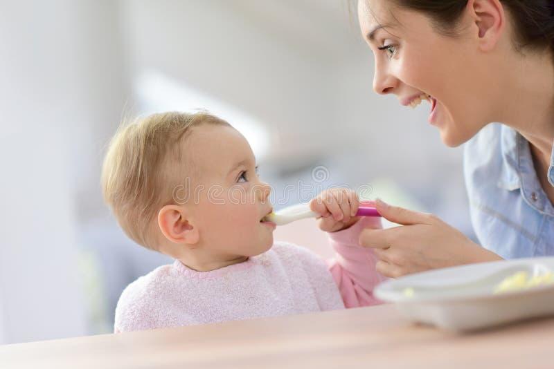 Het Meisje dat van de baby met haar Moeder eet royalty-vrije stock afbeelding