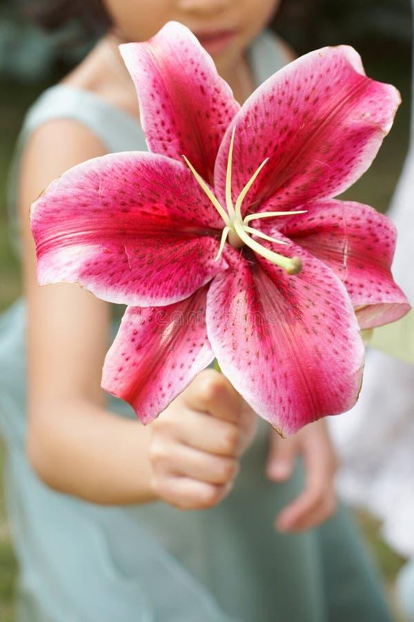 Het meisje dat van de bloem boeket toont royalty-vrije stock afbeelding