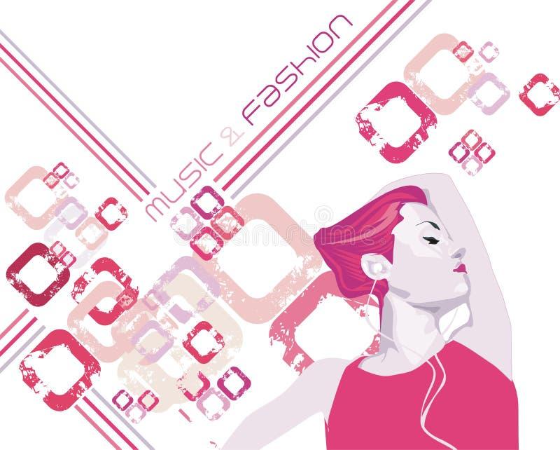 Het meisje dat van de schoonheid & het luisteren muziek danst royalty-vrije illustratie