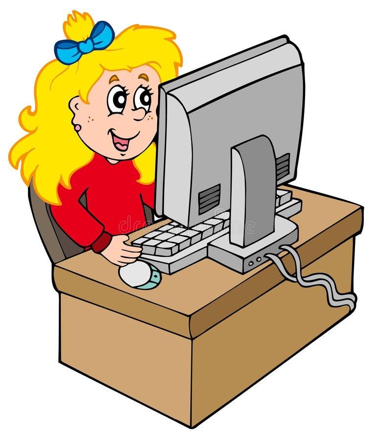 Het meisje dat van het beeldverhaal met computer werkt vector illustratie