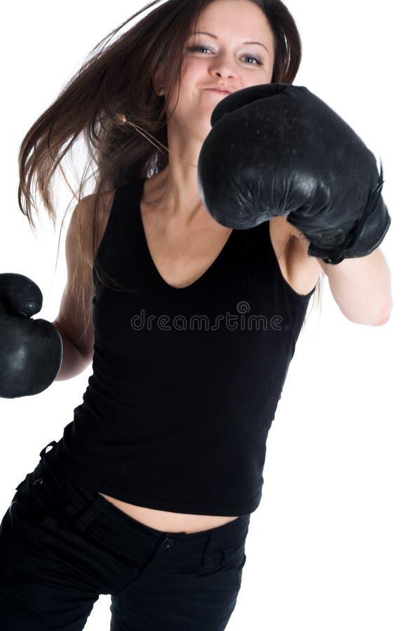Het meisje de bokser stock fotografie