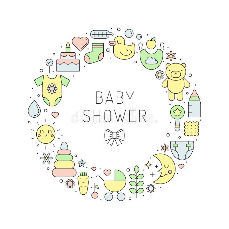 Het meisje & de jongens de leuke illustratie van de overzichts vectorcirkel van de babydouche royalty-vrije illustratie