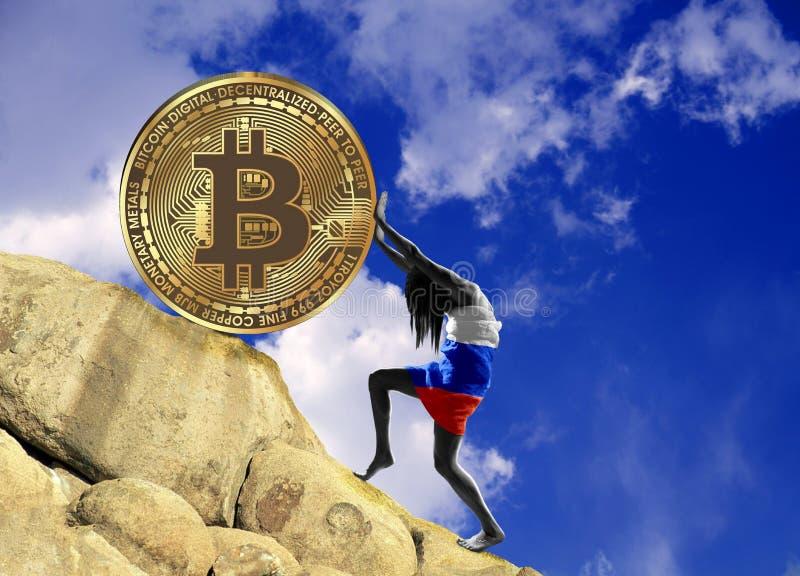 Het meisje, in de vlag van de Russische Federatie wordt verpakt, heft omhoog een bitcoinmuntstuk op de heuvel die vector illustratie