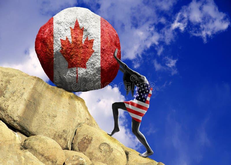 Het meisje, in de vlag van de Verenigde Staten van Amerika wordt verpakt heft een steen tot de bovenkant in de vorm van een silho stock illustratie