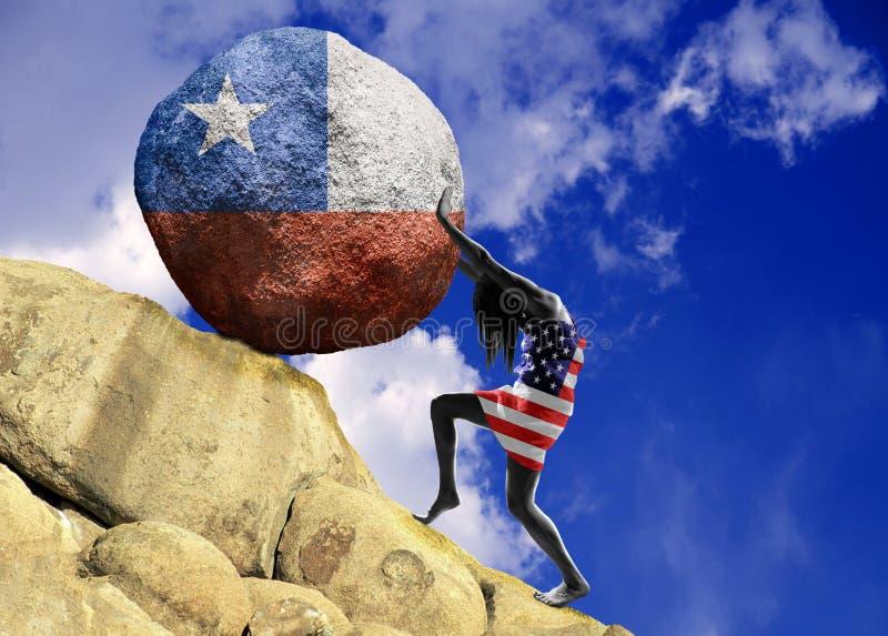 Het meisje, in de vlag van de Verenigde Staten van Amerika wordt verpakt, heft een steen tot de bovenkant in de vorm van een silh royalty-vrije illustratie