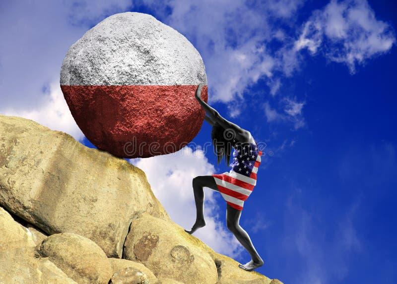 Het meisje, in de vlag van de Verenigde Staten van Amerika wordt verpakt, heft een steen tot de bovenkant in de vorm van het silh royalty-vrije illustratie