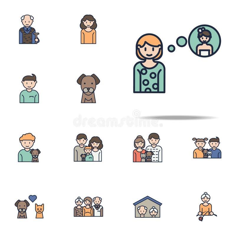het meisje denkt over het pictogram van het huwelijksbeeldverhaal Voor Web wordt geplaatst dat en het mobiele algemene begrip van vector illustratie